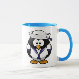 Pingüino del marinero taza