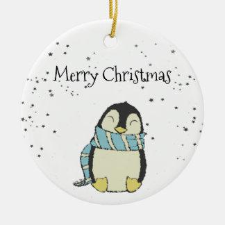 Pingüino del navidad adorno navideño redondo de cerámica
