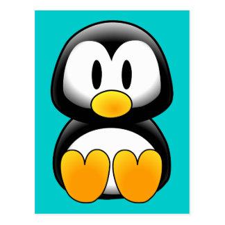 Pingüino divertido lindo del bebé postal