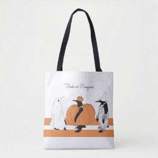 Pingüino divertido lindo Halloween personalizado Bolsa De Tela