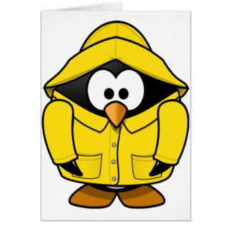 Pingüino en tarjetas de felicitación del impermeab