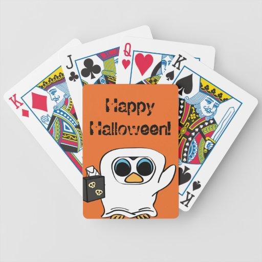 Pingüino en truco o la invitación del traje del baraja cartas de poker