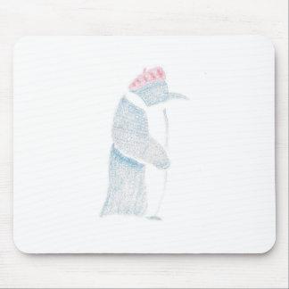 Pingüino en una boina alfombrilla de ratón