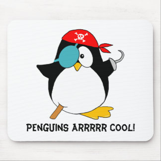 Pingüino fresco del pirata alfombrilla de ratón