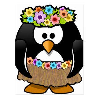 Pingüino hawaiano con las flores y la falda de postal