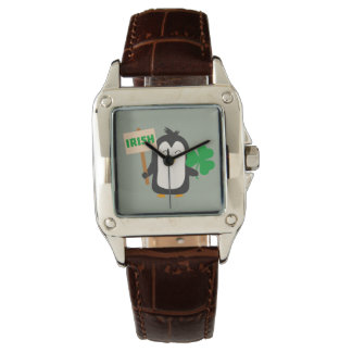 Pingüino irlandés con el trébol Zjib4 Reloj