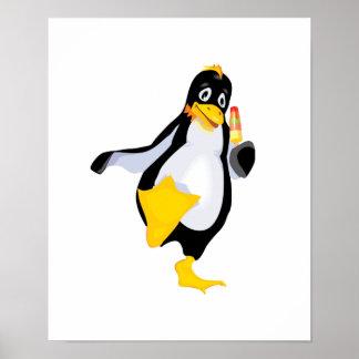 pingüino lindo con helado póster