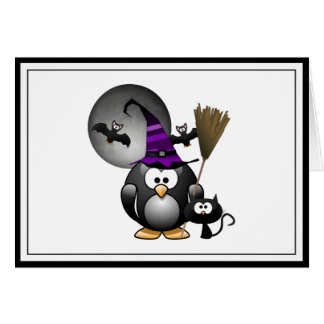 Pingüino lindo de Witchy con la escena de Tarjeta De Felicitación