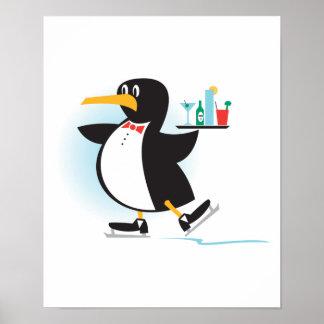 pingüino lindo del camarero en patines impresiones