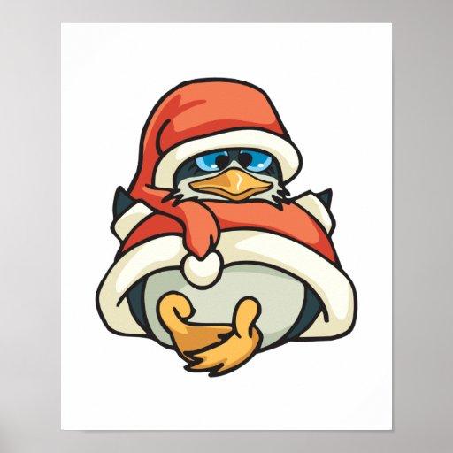 pingüino lindo del navidad de santa posters