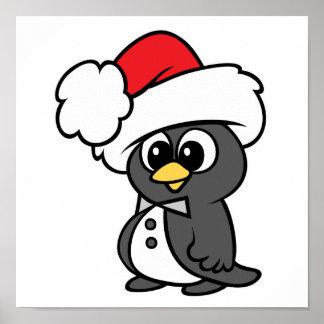 Pingüino lindo del smoking del navidad póster