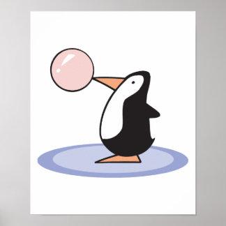 pingüino lindo divertido del chicle posters