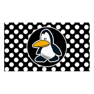 Pingüino lindo en lunares blancos y negros tarjeta de visita