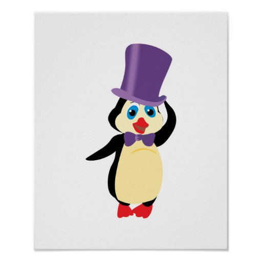 pingüino lindo en sombrero de copa posters