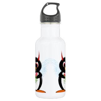 Pingüino malvado lindo botella de agua