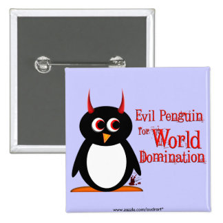 Pingüino malvado para la dominación Bling del Chapa Cuadrada