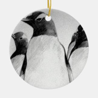 Pingüino marzo adorno redondo de cerámica