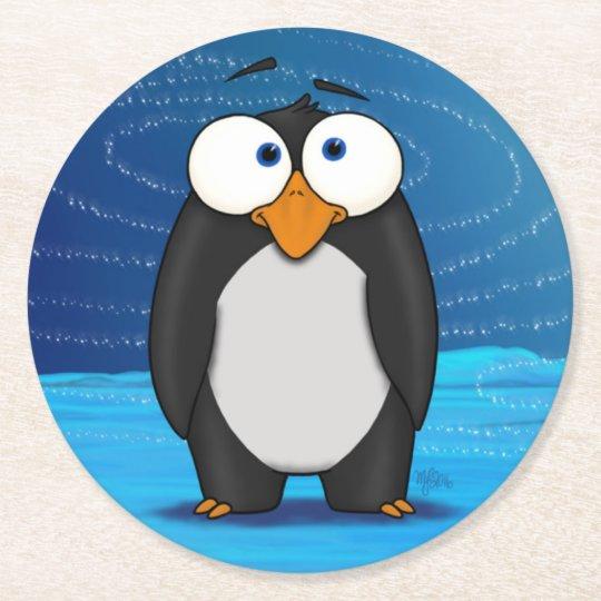 Pingüino, práctico de costa de papel posavasos de papel redondo