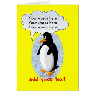 Pingüino que habla tarjeta de felicitación