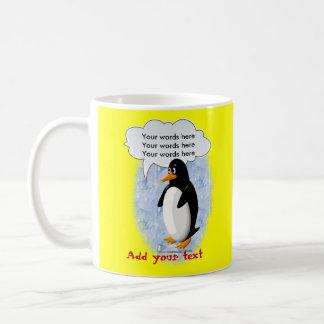 Pingüino que habla taza básica blanca