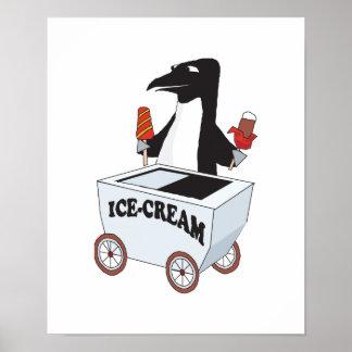 pingüino que vende el helado poster