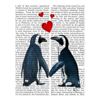 Pingüinos con los corazones del amor postal