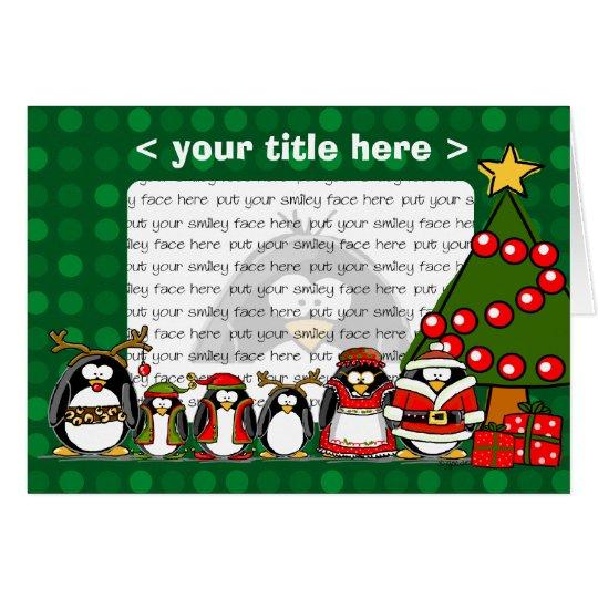 Pingüinos de las Felices Navidad Tarjeta De Felicitación