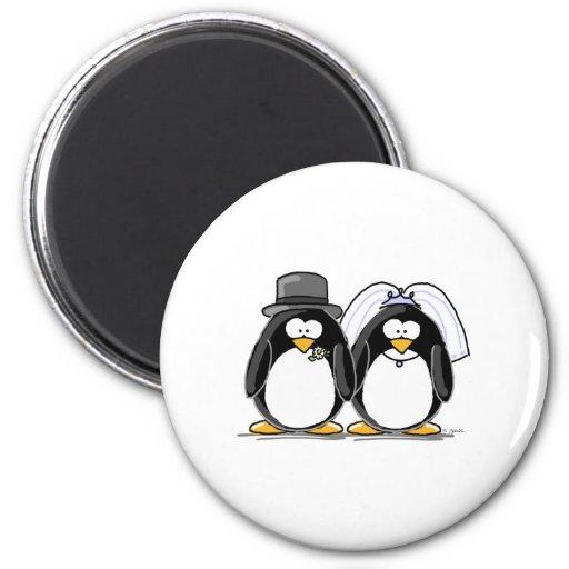 Pingüinos de novia y del novio iman