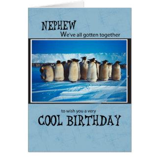Pingüinos del cumpleaños del sobrino, de nosotros, tarjeta de felicitación