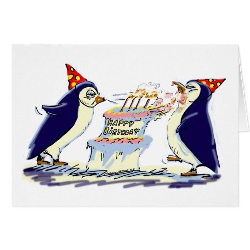 Pingüinos del cumpleaños felicitación