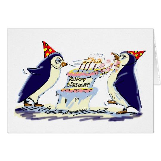 Pingüinos del cumpleaños tarjeta