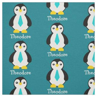 Pingüinos lindos del bebé con las corbatas azules tela