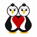 Pingüinos lindos en amor escultura fotografica