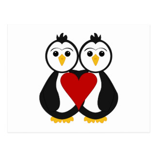 Pingüinos lindos en amor tarjeta postal