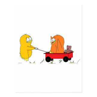 Pingüinos que juegan en un carro tarjetas postales