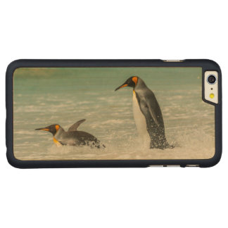 Pingüinos que nadan en la playa funda fina de arce para iPhone 6 plus de carved