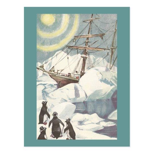 Pingüinos y nave pegados en hielo postal