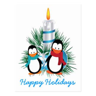 Pingüinos y navidad de la vela de encargo postal