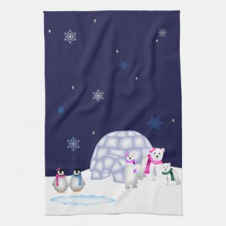 Pingüinos y toalla de los osos polares
