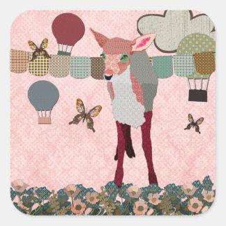 Pink Fawn Balloon Race Sticker