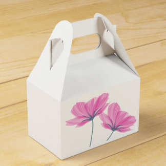 Pink flowers drawing card box caja de regalos