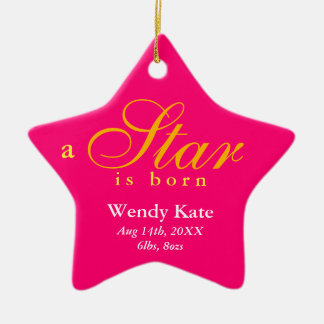 Pink orange a star is born baby name announcement ornaments
