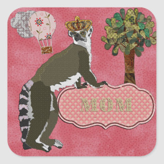 Pink Sticker de rey Julian Mom's Pegatina Cuadrada