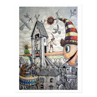 Pinocchio divertido postal