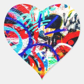 Pintada loca arenosa pegatina en forma de corazón