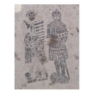 Pintada medieval de los caballeros postal