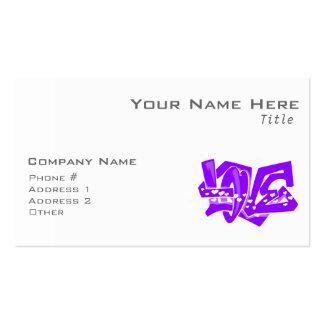 Pintada púrpura violeta del amor tarjetas de visita
