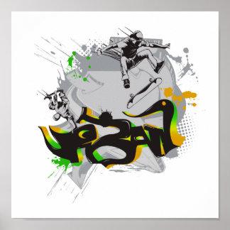 pintada urbana del monopatín póster