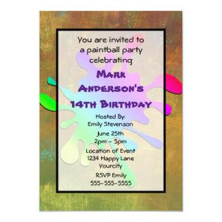 Pinte el cumpleaños de Paintball de la salpicadura Invitación 12,7 X 17,8 Cm