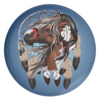 Pinte la placa de Dreamcatcher del caballo Platos Para Fiestas